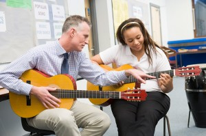 Man Giving Student a Guitar Lesson